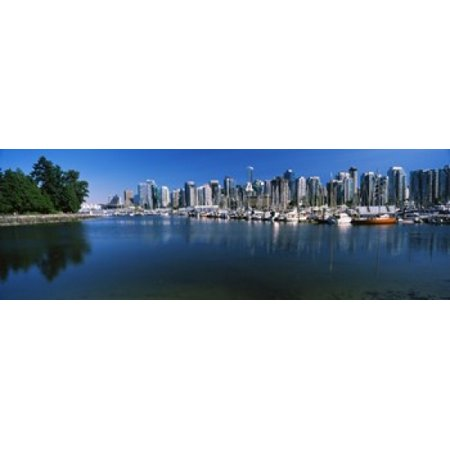 Marina with city at waterfront Vancouver British Columbia Canada 2013 Canvas Art - Panoramic Images (18 x 6) - Party City Marina