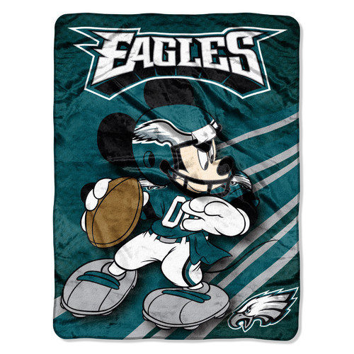 Philadelphia Eagles NFL 46x60 Mickey Mouse Micro Raschel Plush Throw