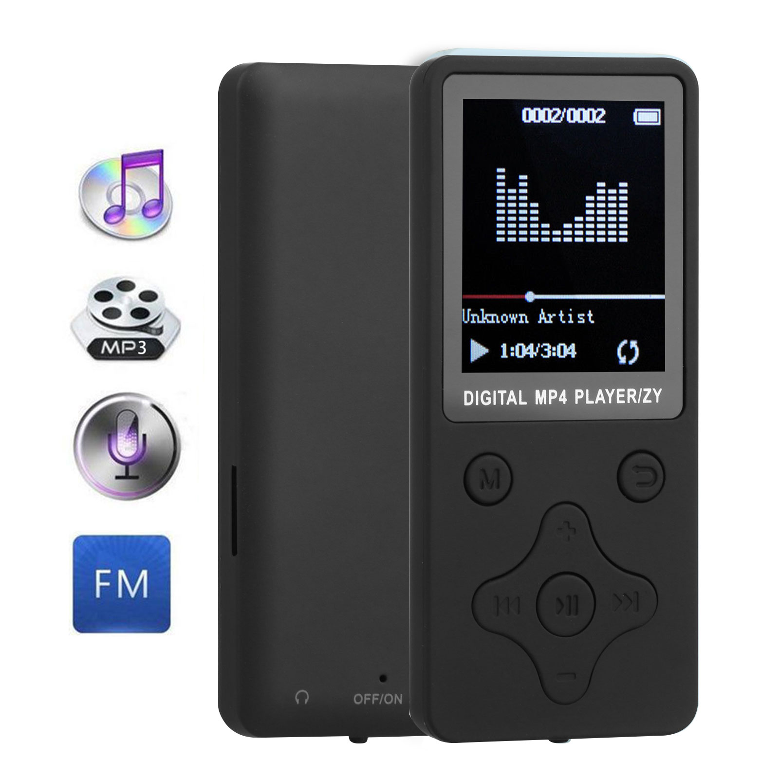 "MP3 Player, Portable Digital MP3 Music Player Lossless Sound with FM Radio, 1.8"" Screen, Micro SD Card Slot Max Support 32GB"