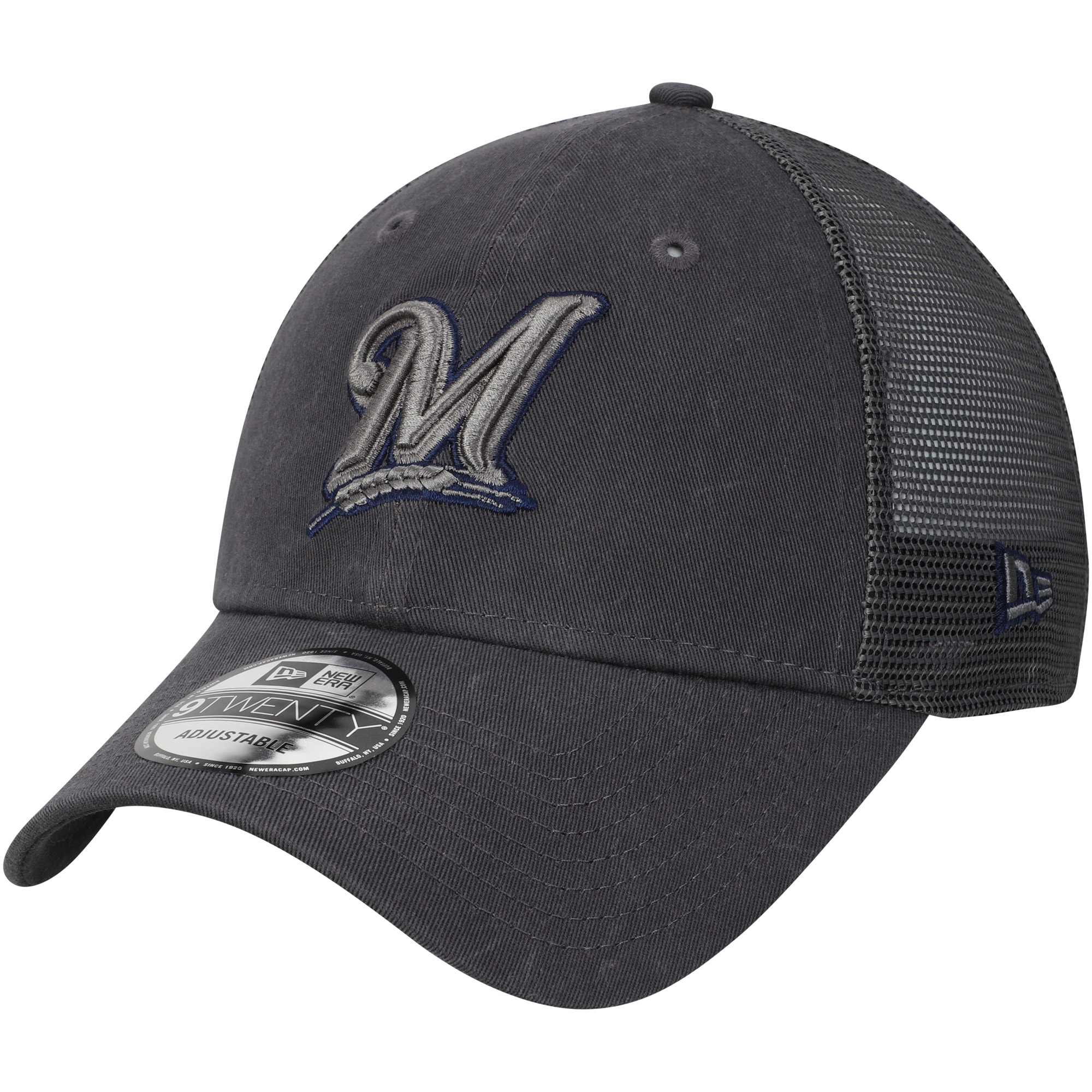 Milwaukee Brewers New Era Velocity Trucker 9TWENTY Adjustable Hat - Graphite - OSFA