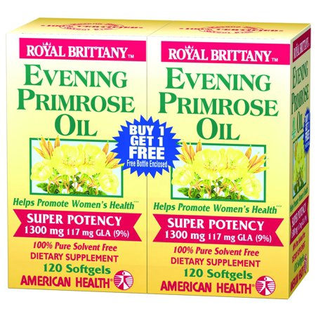 Evening Primrose Oil 1300mg Royal Brittany Twin Pack American Health  Products 120+120 Softgel
