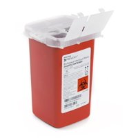 McKesson Prevent Sharps Container 6.25 H X 4.25 W X 4.25 D Inch, 1 Quart, Red Base, 1 Count