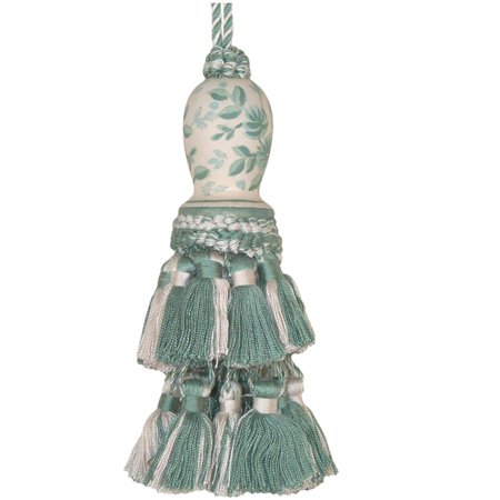 Tassel Sage Toile Green Pair Polyrayon Carved Wooden Head Wood New Hand-P JK-511 ()