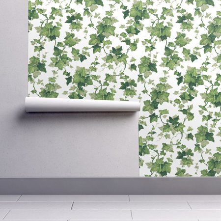 Removable Water-Activated Wallpaper Green Ivy Leaves Botanical Vine Leaves ()