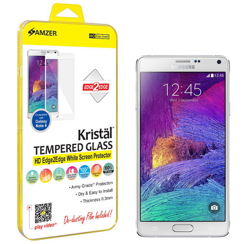 Amzer Kristal Tempered Glass HD Edge2Edge White Screen Protector