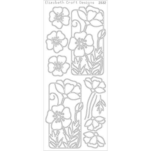 Flower Poppy Peel-Off Stickers-Gold