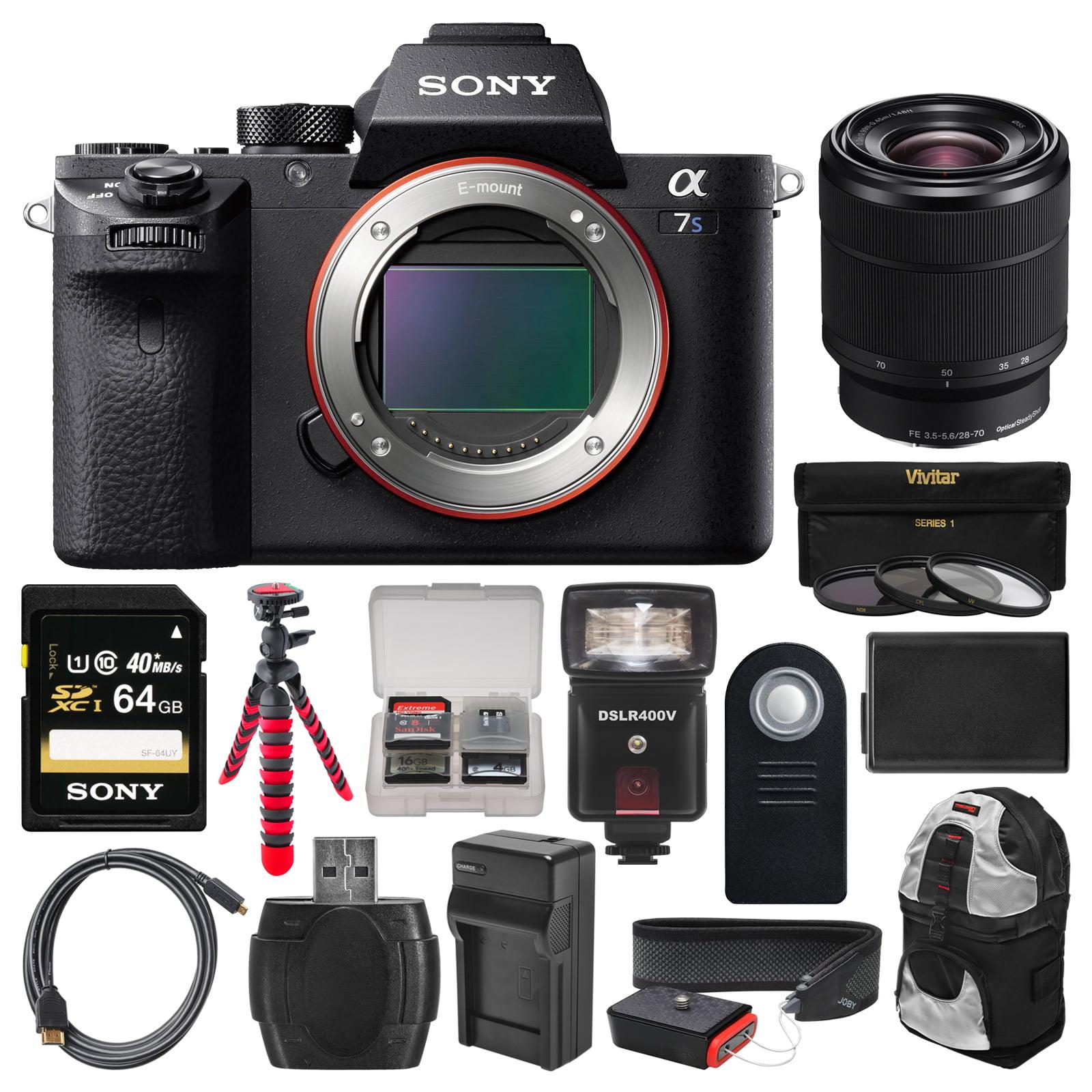 Sony Alpha A7S II 4K Wi-Fi Digital Camera Body with FE 28-70mm Lens + 64GB Card + Backpack + Flash + Battery &... by Sony