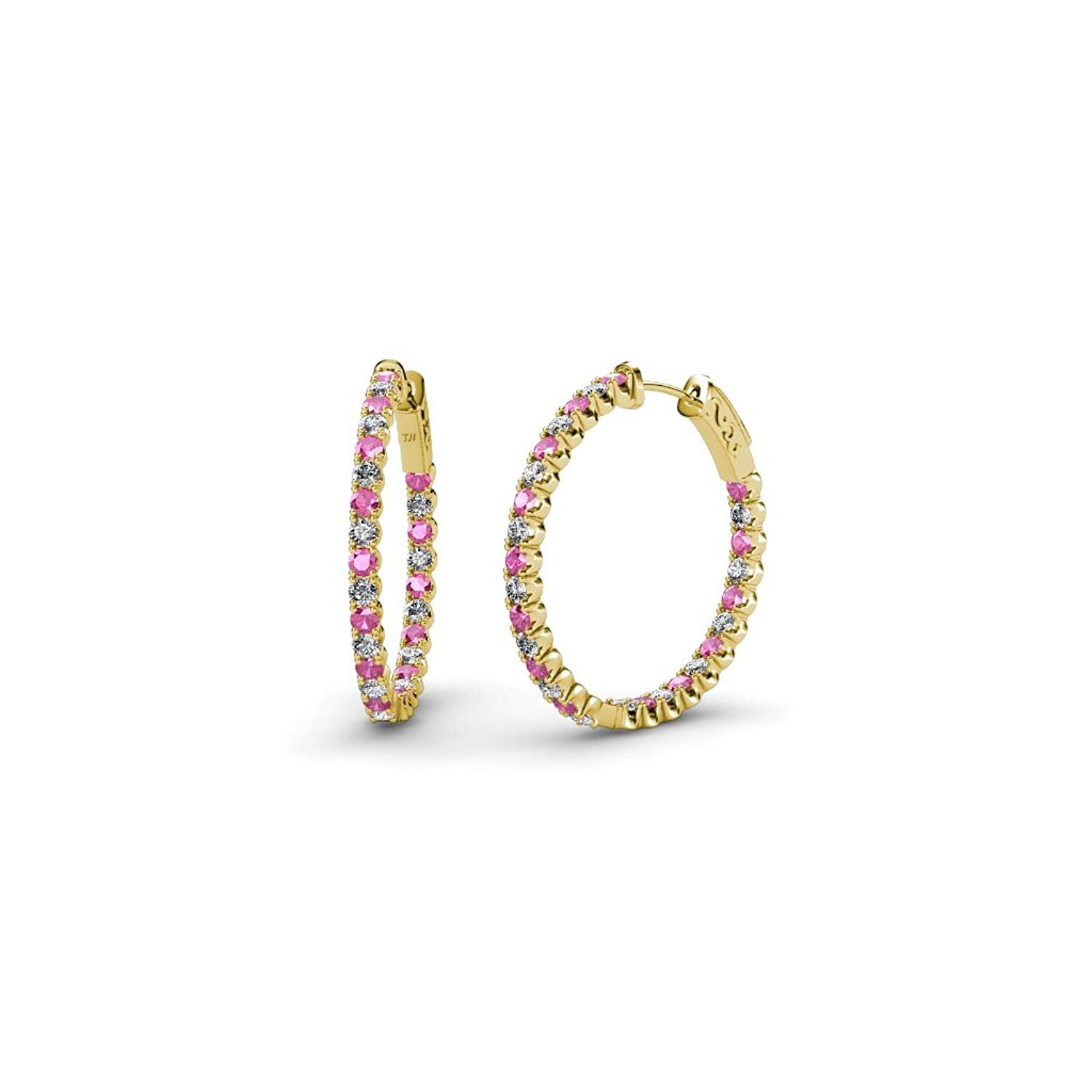 Pink Sapphire and Diamond (SI2-I1, G-H) Inside-Out Hoop Earrings 1.35 ct tw in 14K Yellow Gold by TriJewels