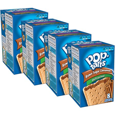 (4 Pack) Kellogg's Pop-Tarts Breakfast Toaster Pastries, Unfrosted Brown Sugar Cinnamon Flavored, 14 oz 8 (Brown Sugar Cinnamon Toaster Pastries)