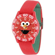 Elmo Boys' Red Plastic Time Teacher Watch, Reversible Red and Green Nylon Strap