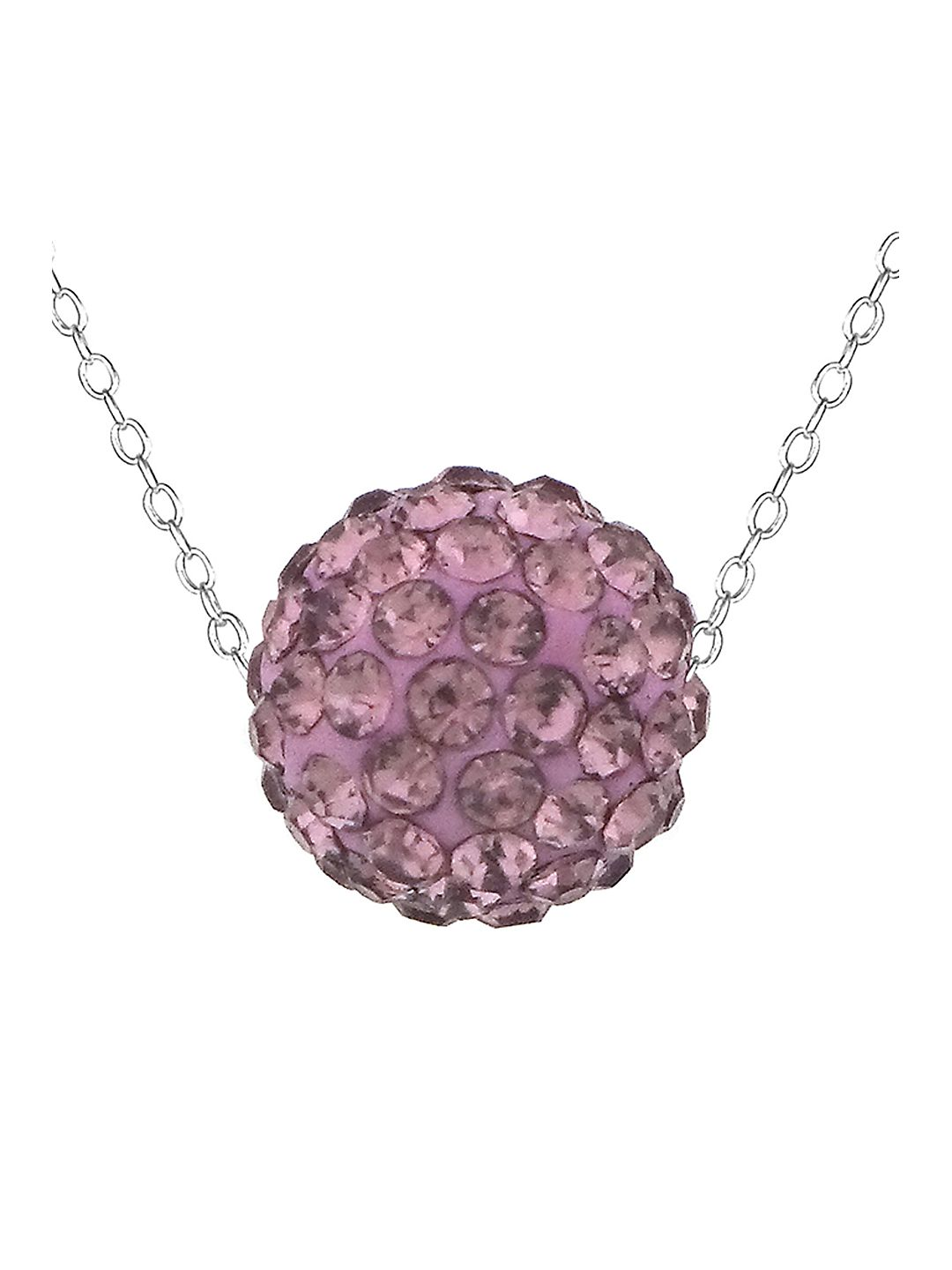 Lavender Sterling Silver and Crystal Ball Pendant Necklace