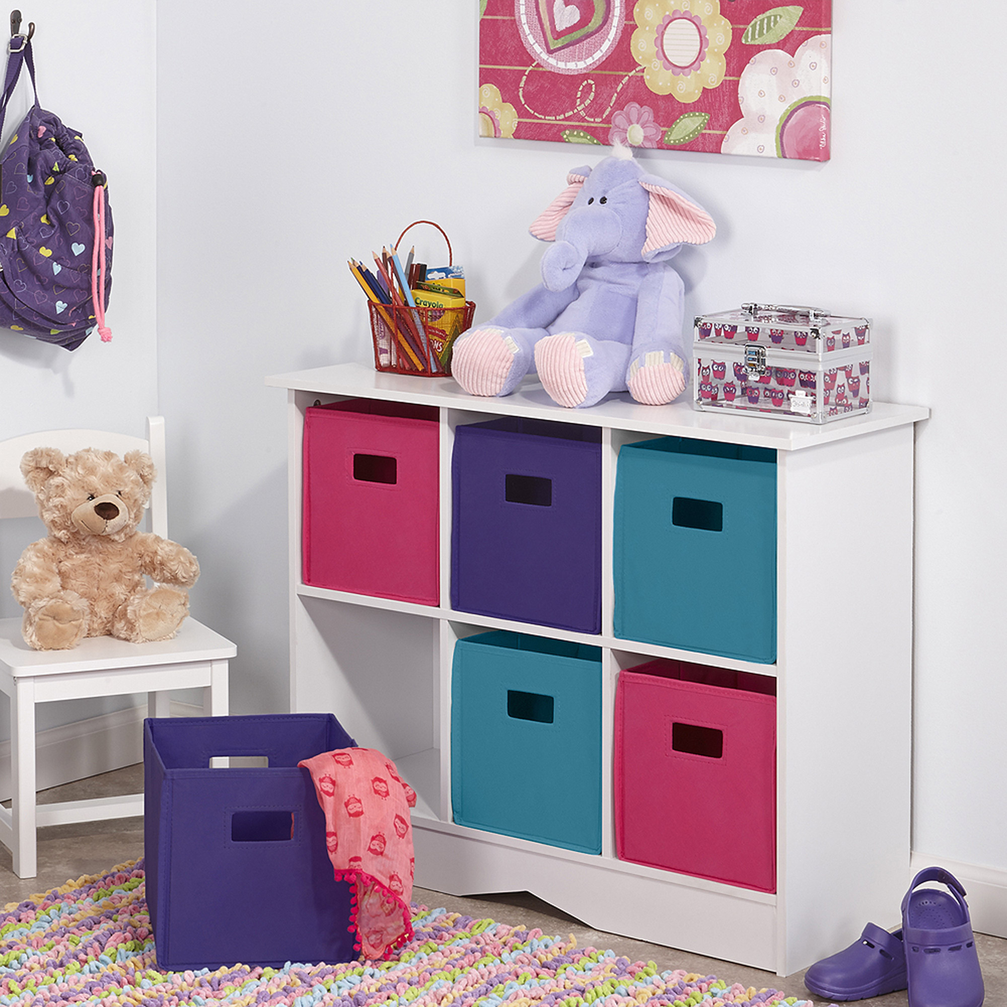 New Kids Playroom Nursery Storage Cabinet With 6 Bins White And Jewel Tones