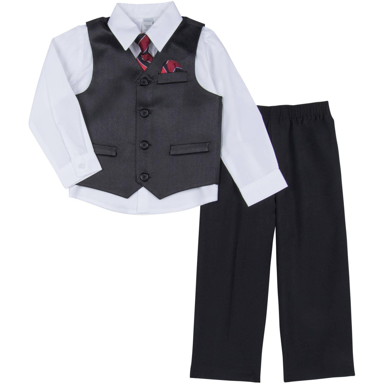 George Newborn Baby Boy 4-Piece Shiny Stripe Dressy Vest Set