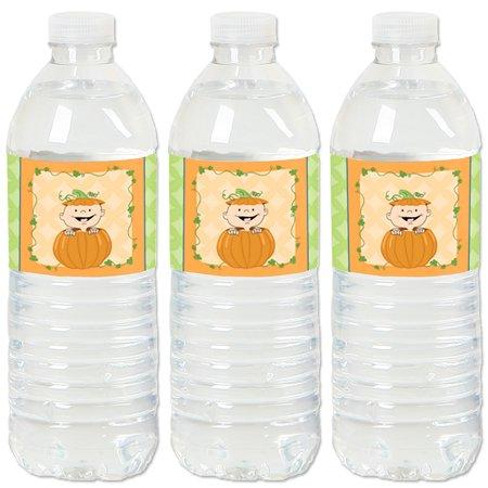 Little Pumpkin - Fall Baby Shower or Birthday Party Water Bottle Sticker Labels - Set of 20](Birthday Pumpkin)