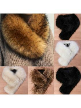 Pudcoco Faux Fox Fur Collar Scarf Fluffy Winter Warm Shawl Wrap Neck Stole Scarfs Chic