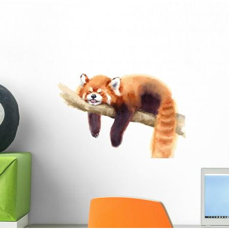 Watercolor Sleeping Red Panda Wall Decal Wallmonkeys Peel and Stick Animal Graphics (12 in W x 9 in H) WM502670