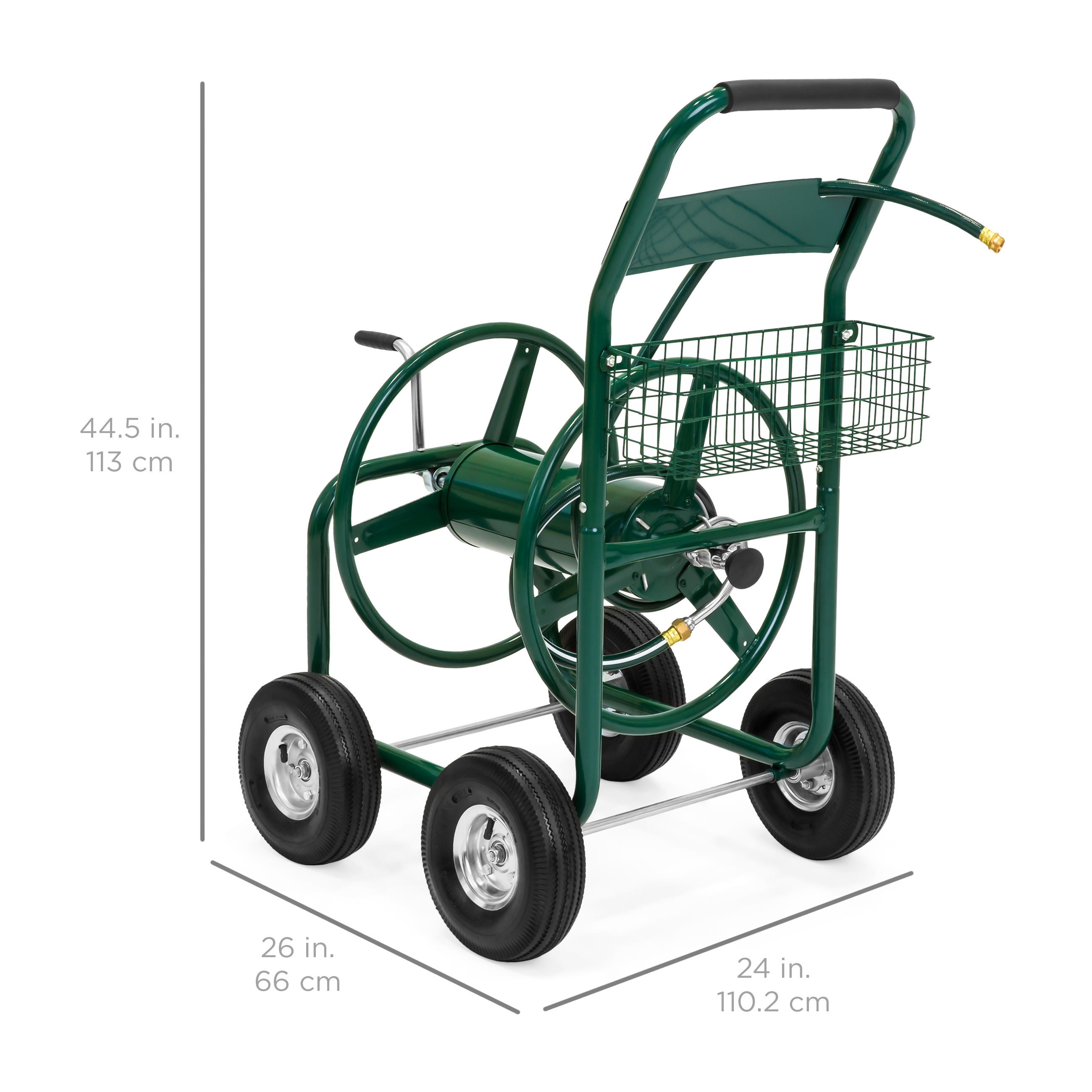 best choice products 300ft water hose reel cart w basket for
