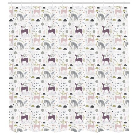 Forest Shower Curtain Enchanted Woodland Creatures Deer With Curved Antlers Foliage Dotted Rocks Pattern