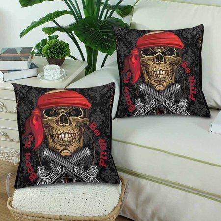 YUSDECOR Skull Born To Be Wild Music Rock Pillowcase Pillow Protector Cushion Cover 18x18 inch,Set of 2 - image 1 de 2