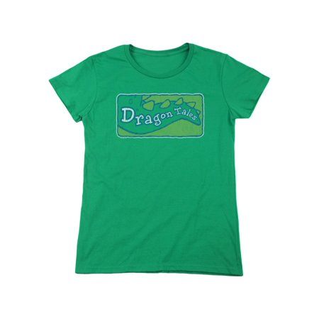 Dragon Tales Animated Series Show Logo Distressed On Green Women's T-Shirt