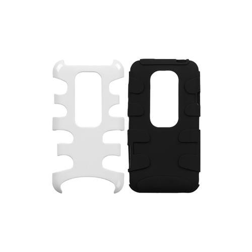 INSTEN Solid Ivory White/Black Fishbone Phone Case for HTC: EVO 3D, EVO V 4G