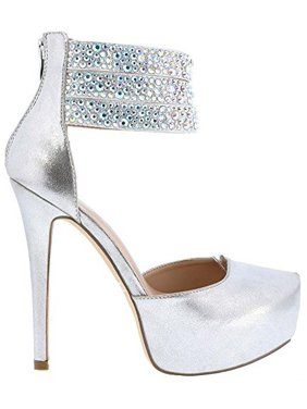 a220ea7e4184 Product Image Rhinestone Ankle Strap Wedding Bridal Platform Stiletto  Women s Silver Heels. Fourever Funky