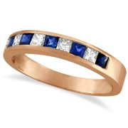 14k Gold 3/4ct TDW Princess-cut Channel-set Diamond & Blue Sapphire Band (G-H, SI1-SI2) 14k Rose Gold - Size 4.5