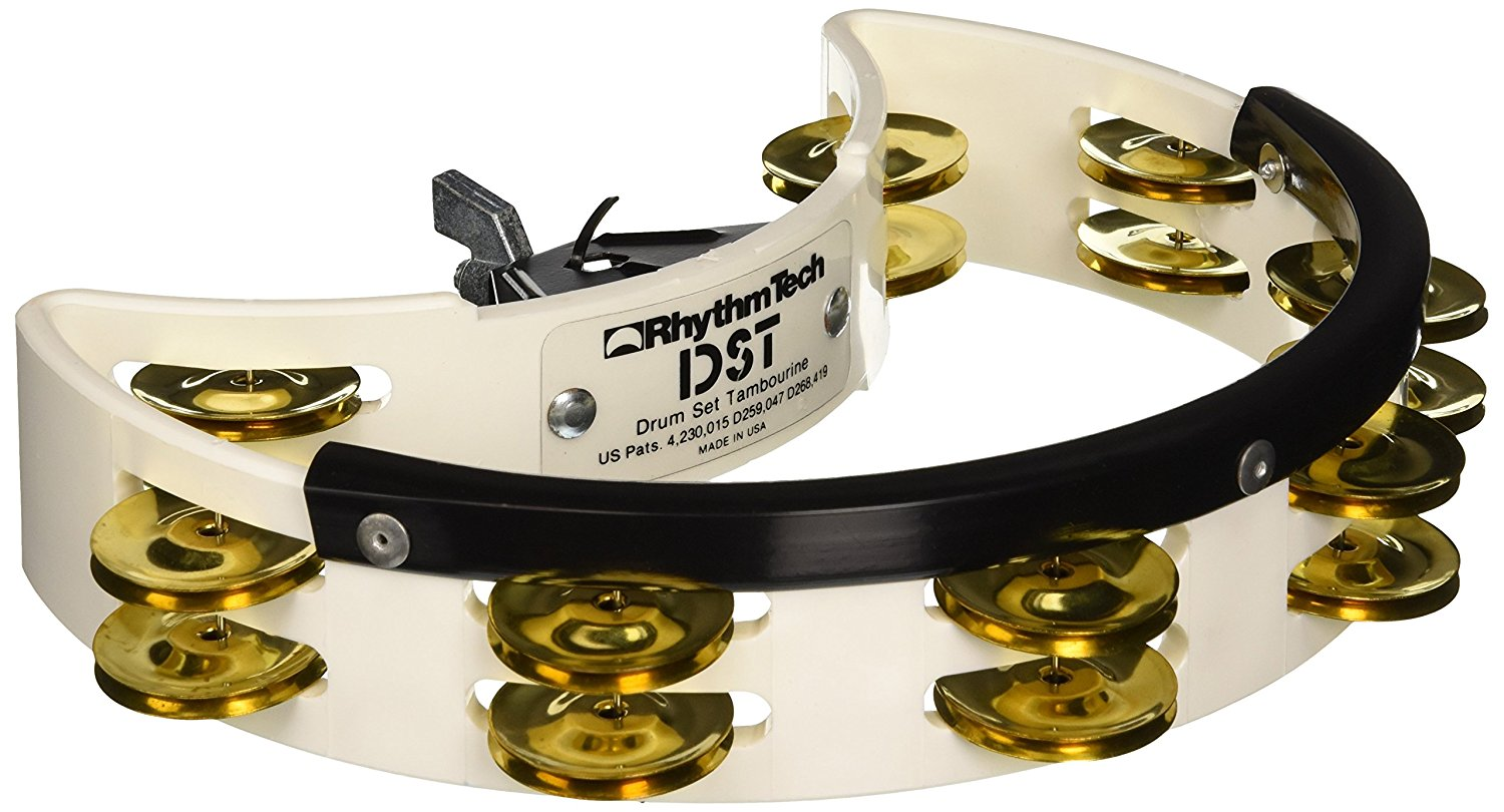 DST 21 Drum Set Tambourine-White-Brass Jingles, Easily mountable By Rhythm Tech from USA by