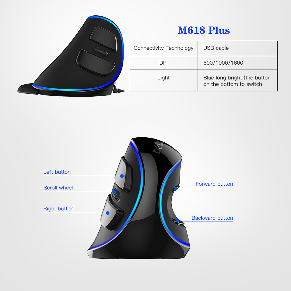 Delux M618 Plus Blue Light Wired Optical Mouse 600/1000/1600 DPI 3 Levels Ergonomic Mouse With 6 Buttons For PC Laptop Desktop