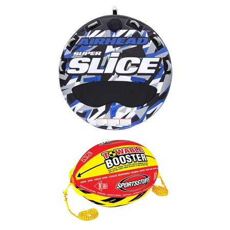 Airhead Super Slice - Airhead Super Slice Inflatable Triple Rider Towable Tube w/ Buoy Booster Ball