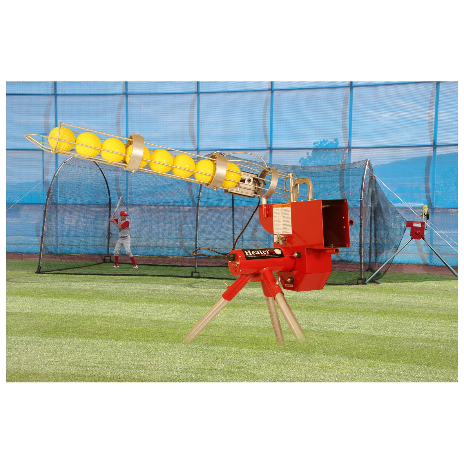 Heater Sports 24 ft. Softball Pitching Machine & Xtender Batting Cage Package