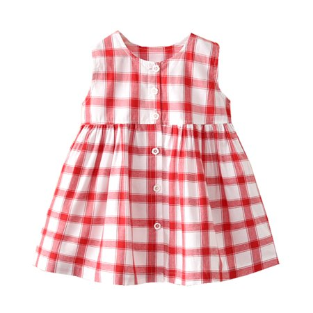 Styles I Love Baby Little Girl Sleeveless Button Up Printed Cotton Dress Spring Summer Casual Outfit (Red Checkered, 120/4-5 Years) - Casual Dress Up For Girls