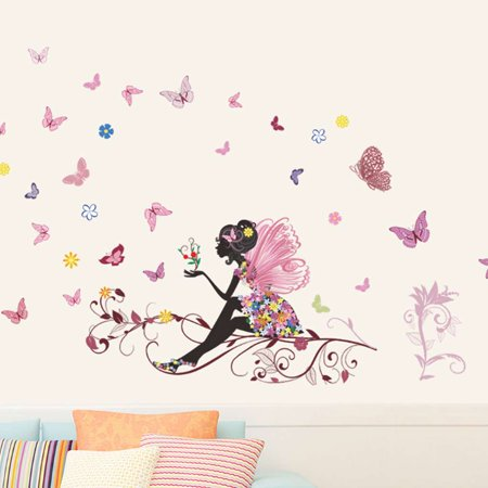 Beautiful Removable Butterfly Flower Girl Wall Stickers Wall Decals Home Room Decoration - image 1 of 4