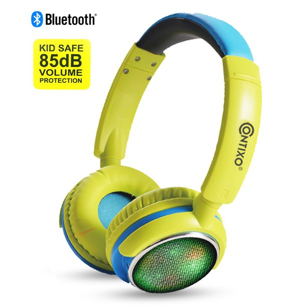 Contixo Kids Safe Stereo Bluetooth Headphones With Volume Limiter Built In Colorful Led Lights Microphone Fm Radio Microsd Card Player 3 5mm Cable Music Streaming Green Walmart Com Walmart Com