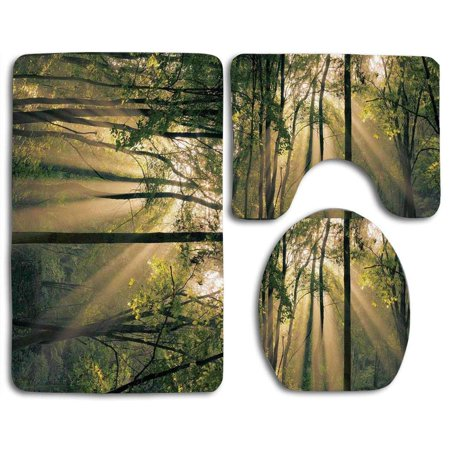 EREHome Farm House Morning Sunrays Through Trees Summertime Countryside Scenic View 3 Piece Bathroom Rugs Set Bath Rug Contour Mat and Toilet Lid Cover - image 2 of 2