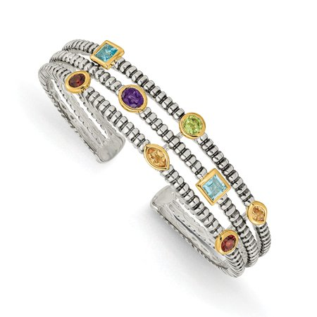 Roy Rose Jewelry Shey Couture Collection Sterling Silver with 14K Yellow Gold 1.74-Carat tw Gemstone Cuff Bracelet 7.5'' Length