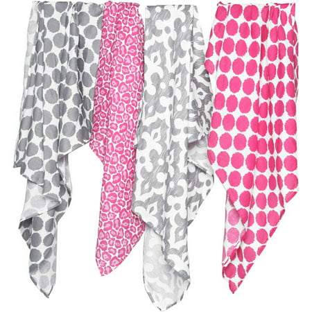 Bacati - Ikat 100% Cotton Muslin Swaddling Blankets Set of 4, Available in Multiple Patterns and (Pink Swaddle Blanket)