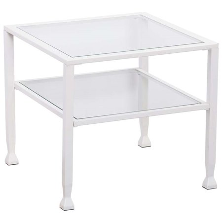 Southern Enterprises Jaymes Glass Top Bunching Coffee Table In White