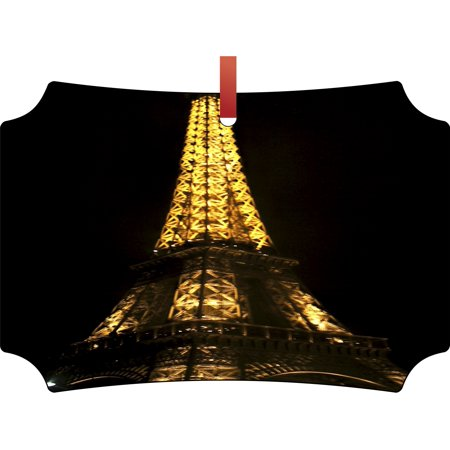 Eiffel Tower Lit Up for Christmas Hanging Berlin Shaped Tree Ornament - (Flat) - Double Sided - Holiday - Christmas - Tm - Made in the USA ()