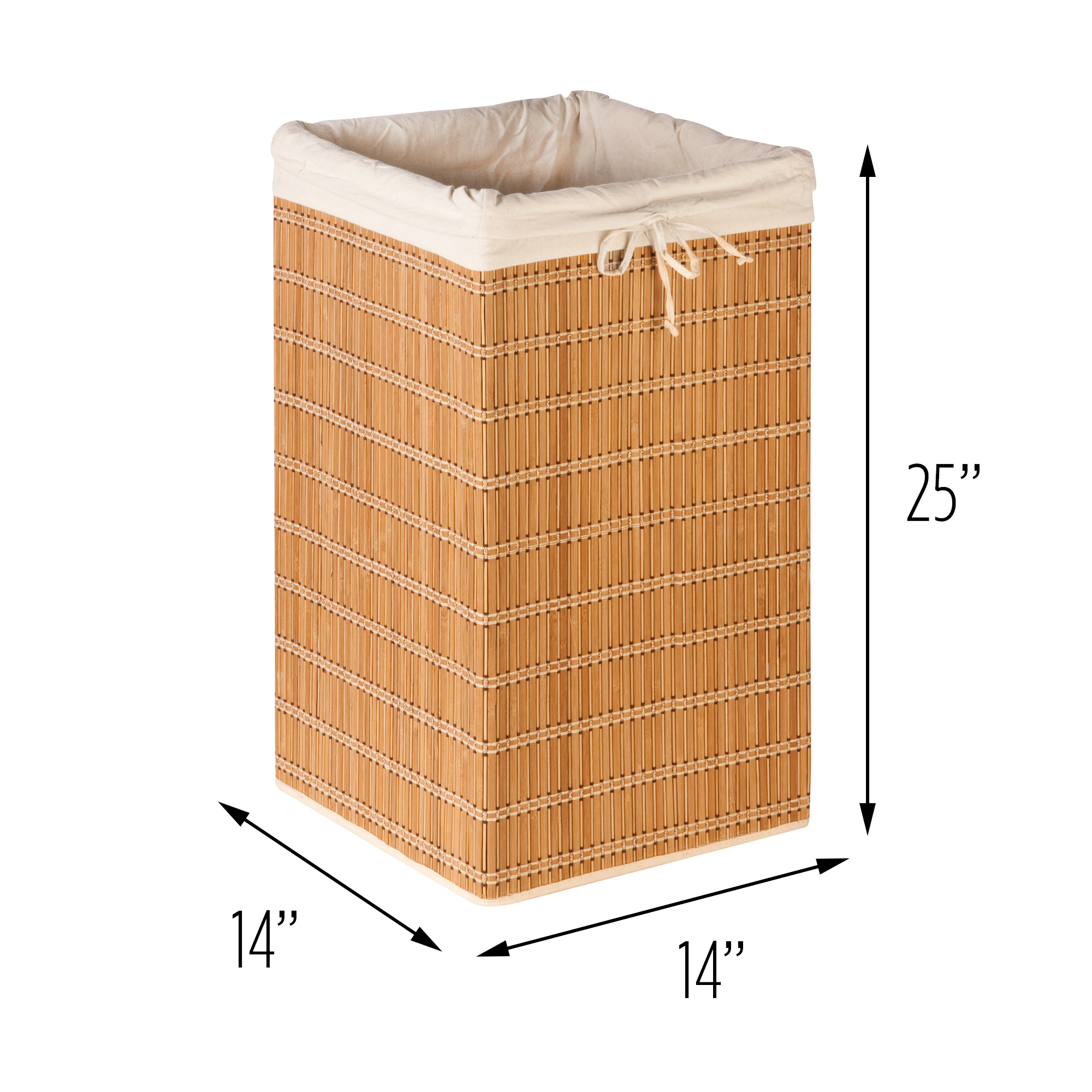 Honey-Can-Do Square Bamboo Laundry Hamper with Bag, Brown