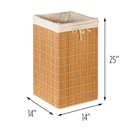 Honey Can Do Durable Square Bamboo Wicker Hamper, Brown ()