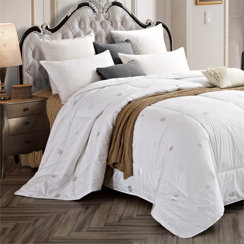 Versailles Empress Duvet Wool Blend Queen Comforter in White