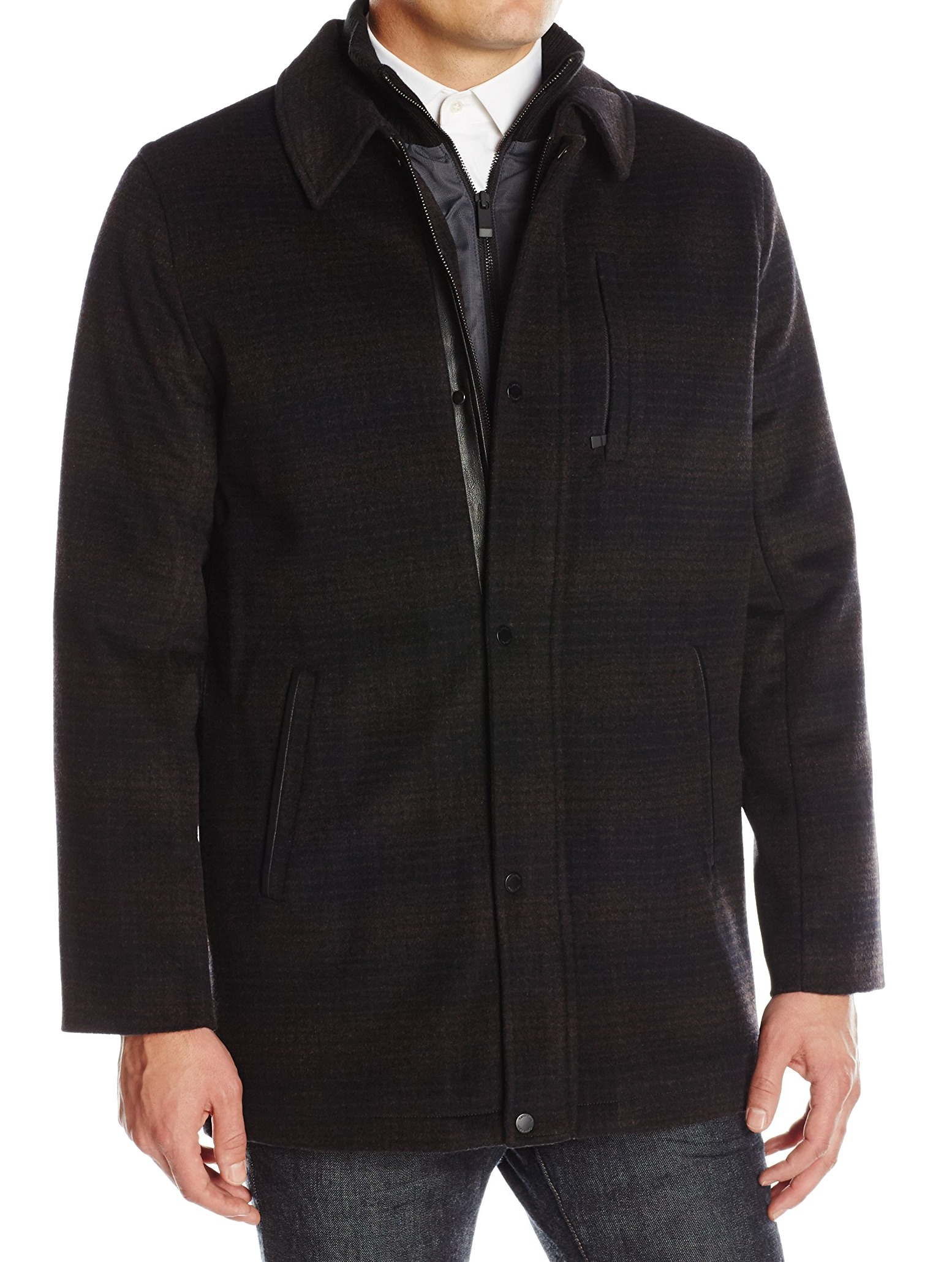Calvin Klein New Brown Mens Size Large L Wool Bibbed Pattern Car Coat by Mens Wool Coats