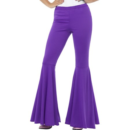 Adult's Womens Purple 70s Flared Groovy Disco Pants (70's Disco Costumes For Sale)