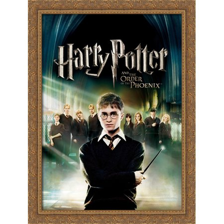 Harry Potter And The Order Of The Phoenix 28X38 Large Gold Ornate Wood Framed Canvas Movie Poster Art