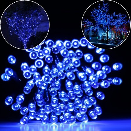 Qedertek Solar Fairy String Lights 100 LED Christmas Decorative Lights (Blue)