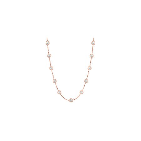 Diamonds Necklace in 14K Rose Gold Bezel Set 0.50 ct.tw - image 2 of 2