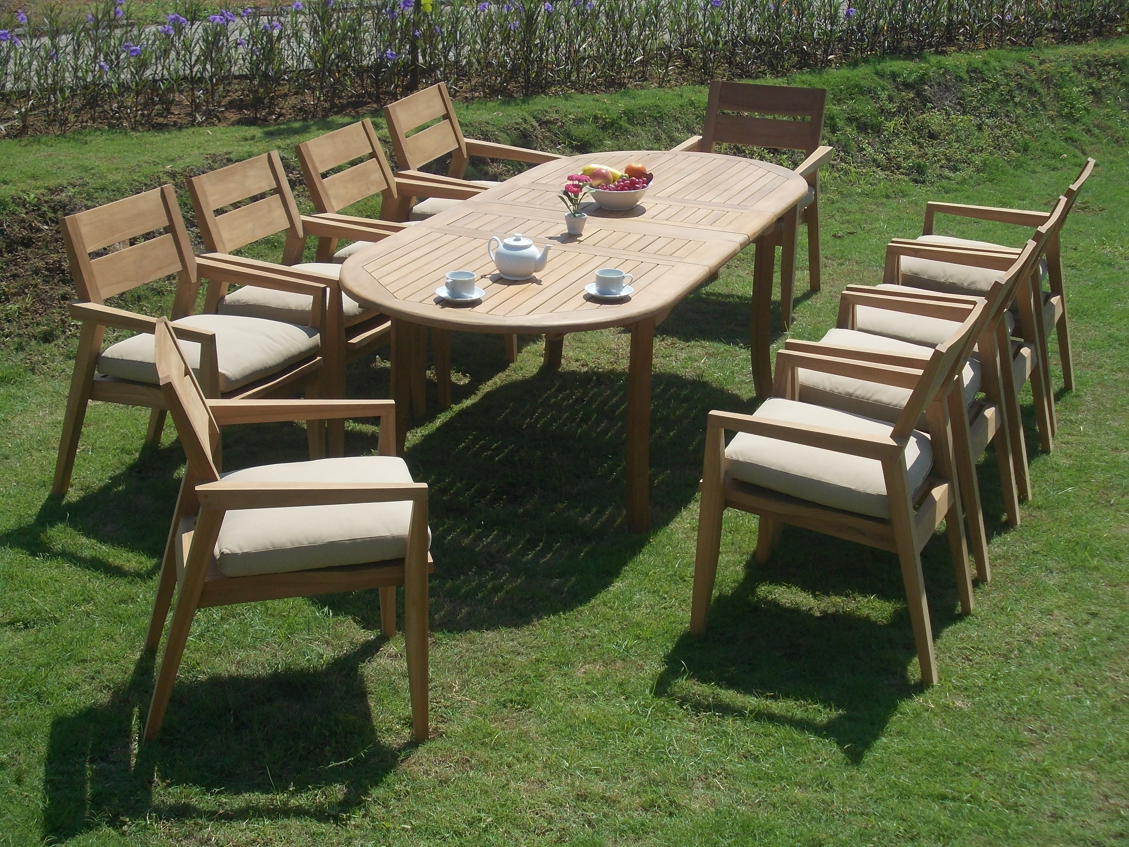 "Click here to buy 11 PC A Grade Outdoor Patio Teak Dining Room Set 94"" Double Extension Oval Table & 10 Cellore Stacking...."