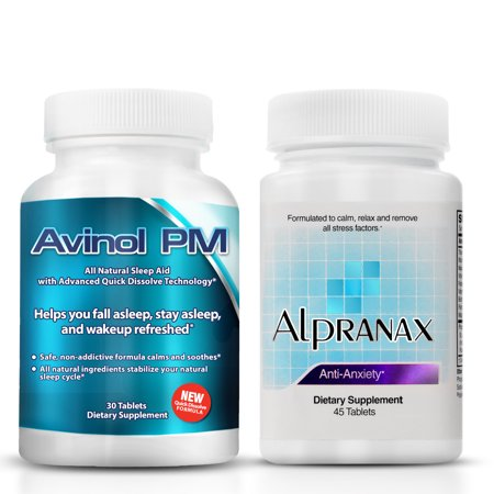 Avinol PM Bundle with Alpranax -- Natural Sleep Aid with Melatonin and 5-HTP + Herbal Relaxation and Stress Relief Supplement - Reduce Stress and Get Deep Restful Sleep - (2 Items)