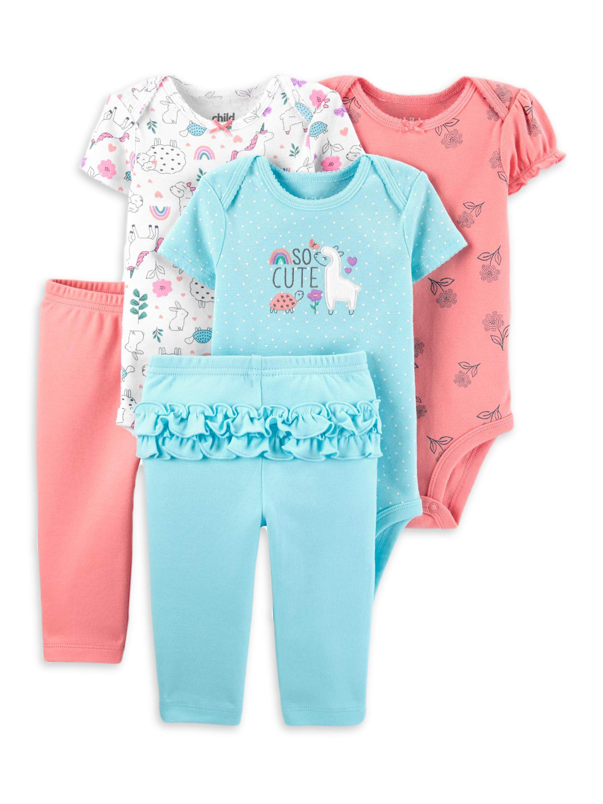 BINIDUCKLING Unisex Infant 2-Pack Cozy Footed Pajamas Outfits Newborn Baby Boy Girls Solid Colors Cotton Onesies Sleepsuit Rompers 0-12 Months